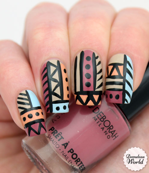 Video Tutorial: Aztec Tribal Nails for Deborah Milano ...