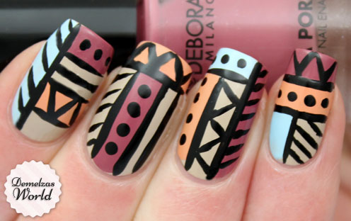 Aztec Tribal Nail Art for Deborah Milano