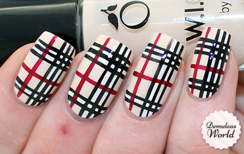Burberry Pattern Nail Art