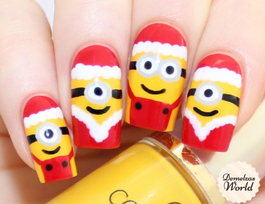 Minions Christmas Nail Art Thumb