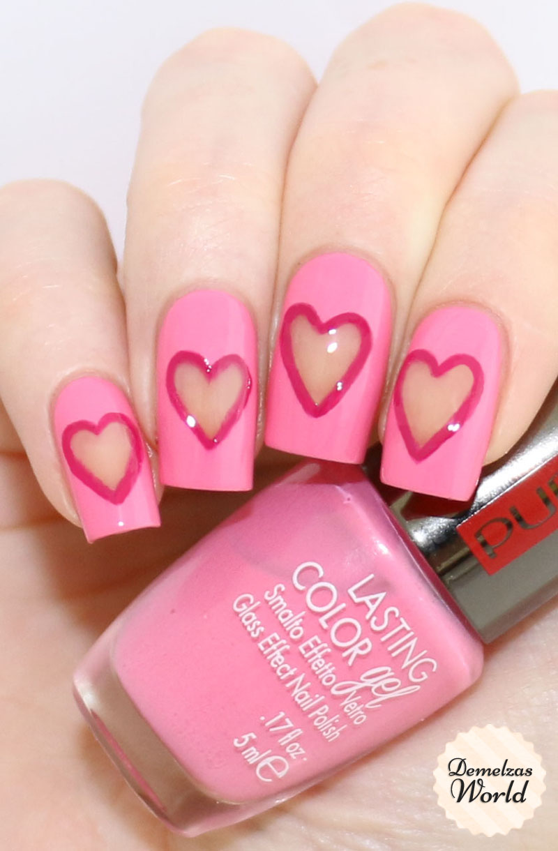 Negative Space Heart Valentines Day Nail Art