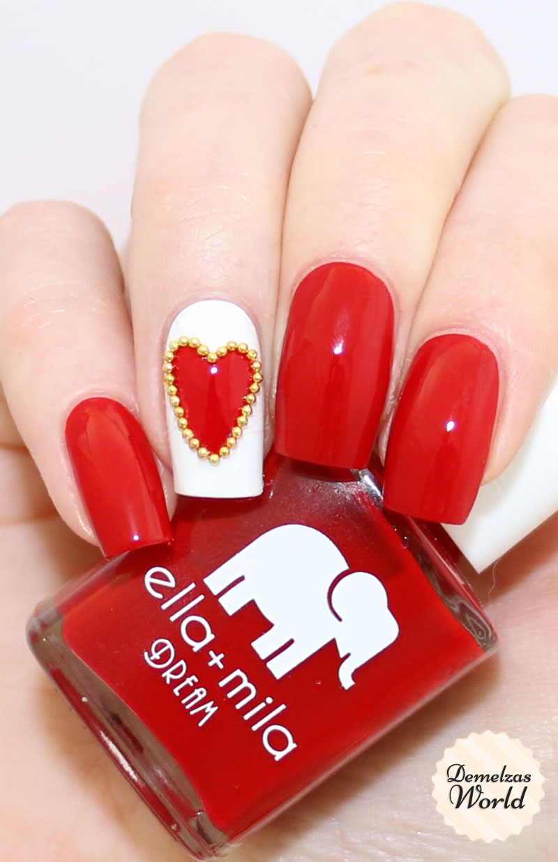 Valentines Day Studded Heart Nail Art