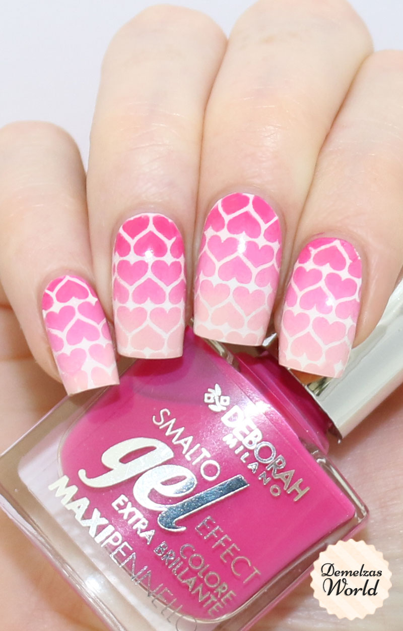 Gradient Hearts Valentines Day Nail Art 1
