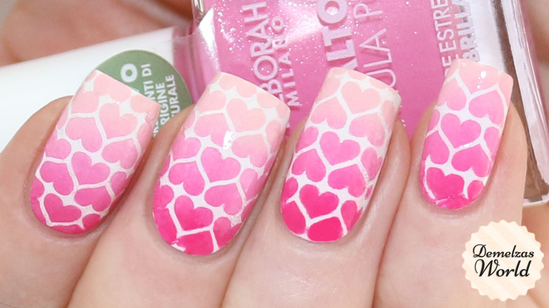 Gradient Hearts Valentines Day Nail Art 2