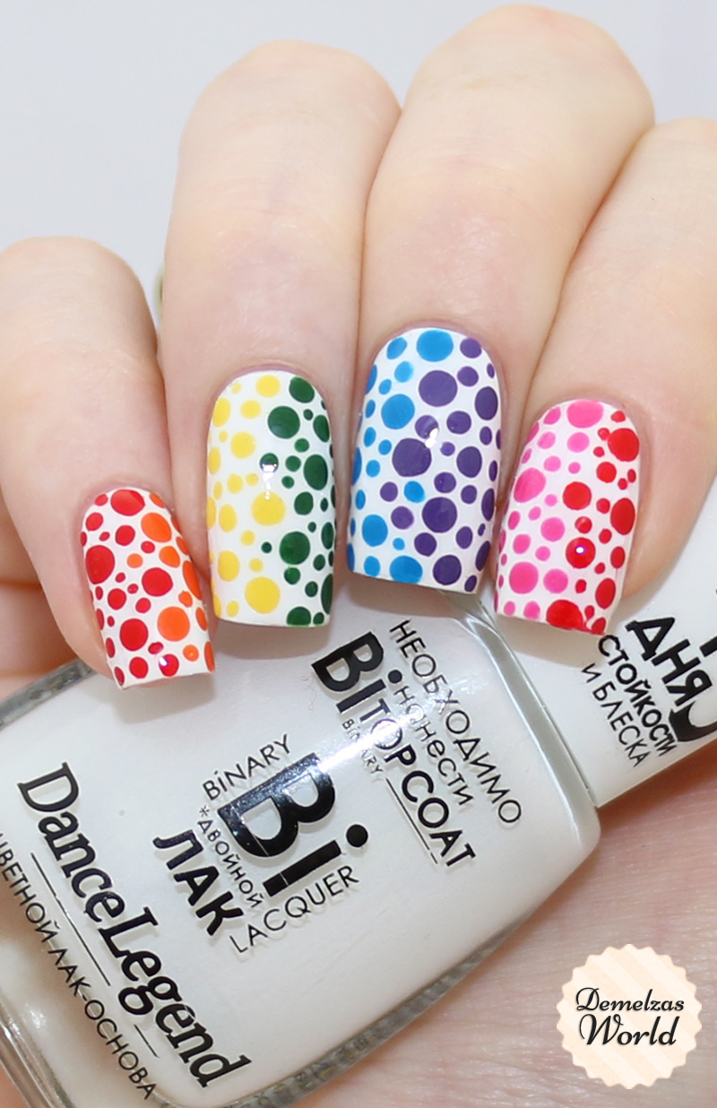 My White Base Is Polina From Dance Legend And Dotting Tools Are Bundle Monster I Ve Used Many Diffe Brands For The Colours Rainbow Dots